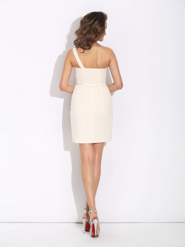Sheath/Column One-Shoulder Beading Sleeveless Short Chiffon Dresses
