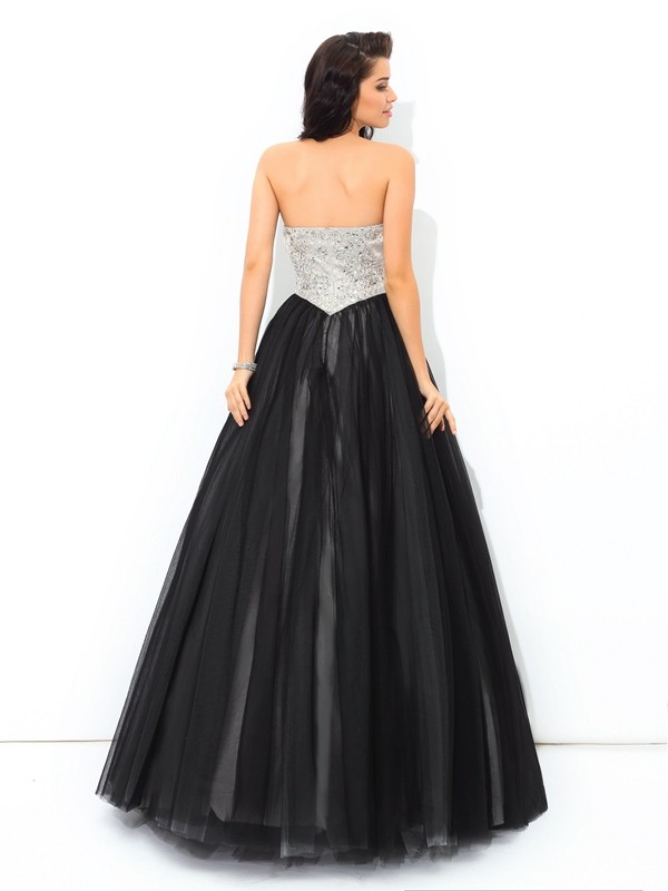 Ball Gown Sweetheart Paillette Sleeveless Long Net Quinceanera Dresses