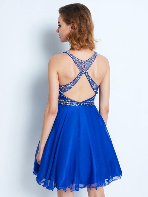 A-Line/Princess Sleeveless Scoop Beading Chiffon Short/Mini Dresses