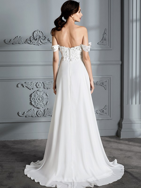 A-Line Off-the-Shoulder Sleeveless Chiffon Floor-Length Wedding Dresses