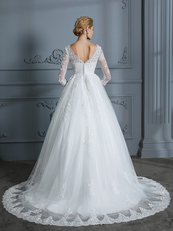 Ball Gown V-neck 3/4 Sleeves Court Train Lace Tulle Wedding Dresses