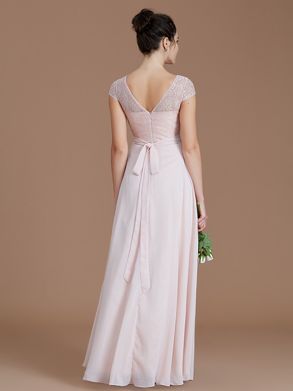 A-Line Bateau Sleeveless Lace Floor-Length Chiffon Bridesmaid Dresses