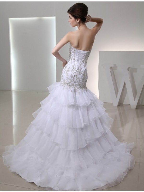 Trumpet/Mermaid Beading Sweetheart Sleeveless Organza Embroidery Wedding Dresses