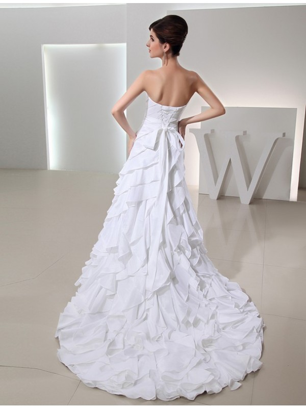 Beading A-Line/Princess Long Sweetheart Sleeveless Taffeta Wedding Dresses