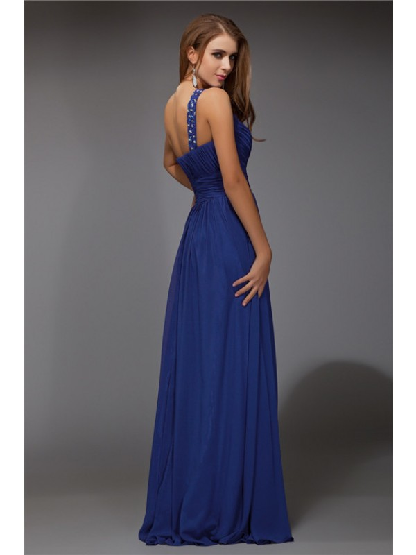 Fantastic Sheath/Column One-Shoulder Sleeveless Beading Long Chiffon Dresses