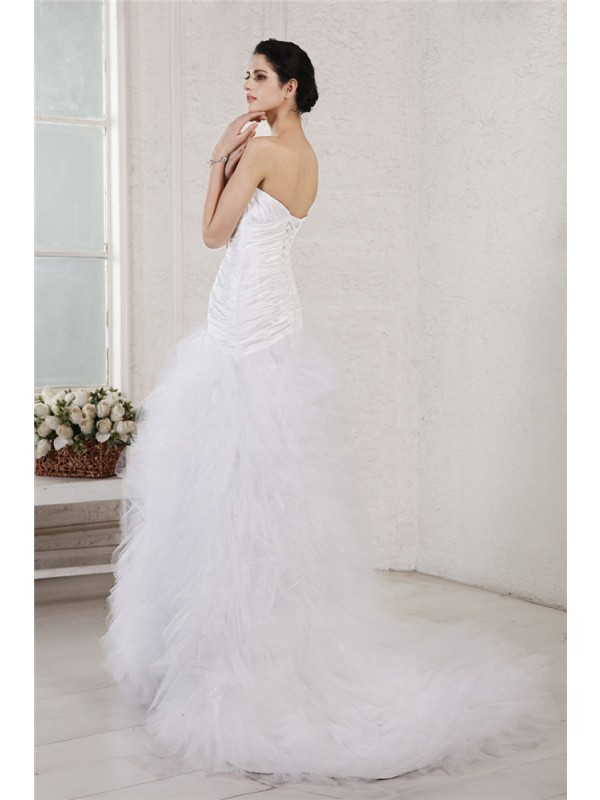 A-Line/Princess Sweetheart Sleeveless Applique Long Taffeta Net Wedding Dresses