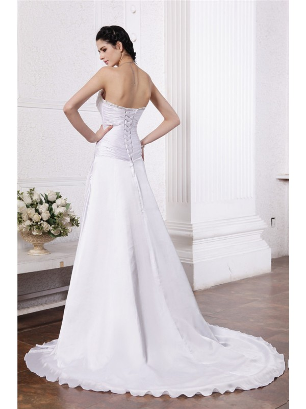 A-Line/Princess Strapless Sleeveless Beading Ruffles Long Silk like Satin Wedding Dresses