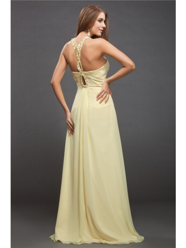 Sheath/Column Halter Beading Sleeveless Long Chiffon Dresses