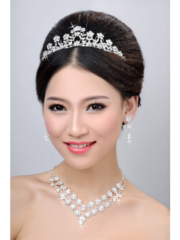New Style Alloy Clear Crystals Flower Wedding Headpieces Necklaces Earrings Set