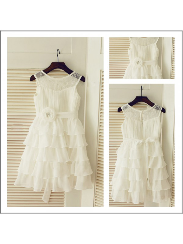 A-Line Scoop Sleeveless Layers Tea-length Chiffon Flower Girl Dress
