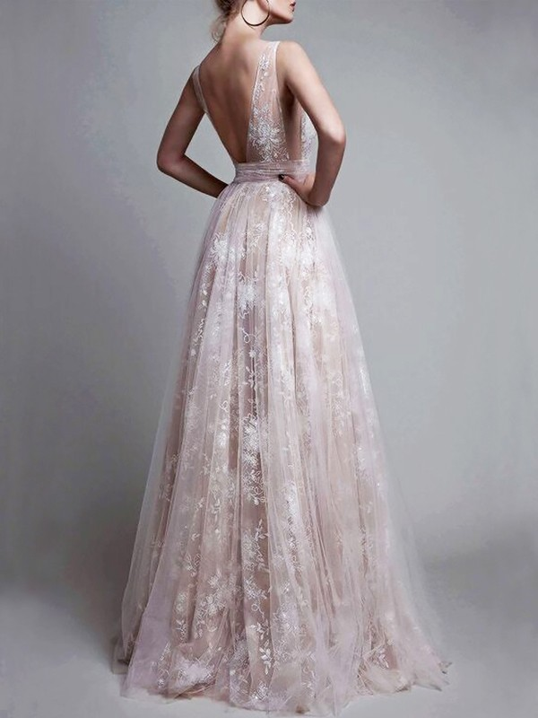 A-Line V-neck Floor-Length Tulle Sleeveless Applique Dresses