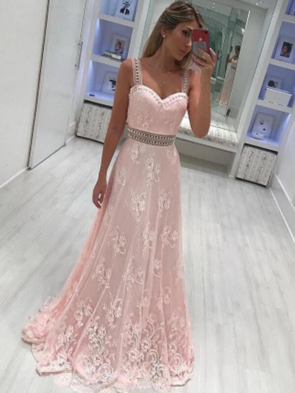 A-Line Sweetheart Sleeveless Floor-Length Applique Satin Dresses