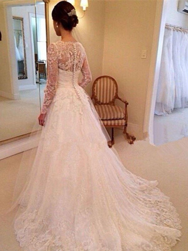 Ball Gown V-neck Long Sleeves Lace Court Train Tulle Wedding Dresses