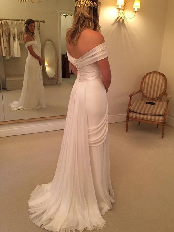 A-Line/Princess Sweep/Brush Train Off-the-Shoulder Sleeveless Ruffles Chiffon Wedding Dresses