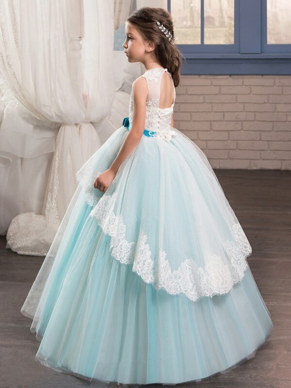 Ball Gown Jewel Sleeveless Sash/Ribbon/Belt Floor-Length Tulle Flower Girl Dresses