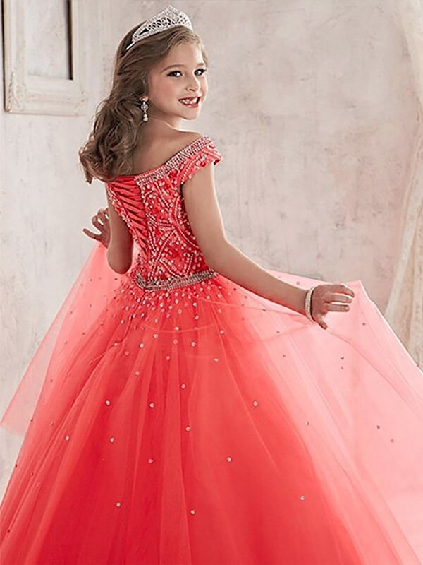 Ball Gown Off-the-Shoulder Sleeveless Beading Floor-Length Tulle Flower Girl Dresses