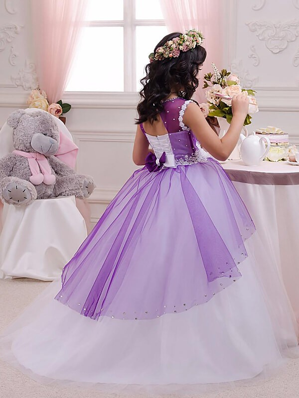 Ball Gown Jewel Sleeveless Applique Floor-Length Tulle Flower Girl Dresses
