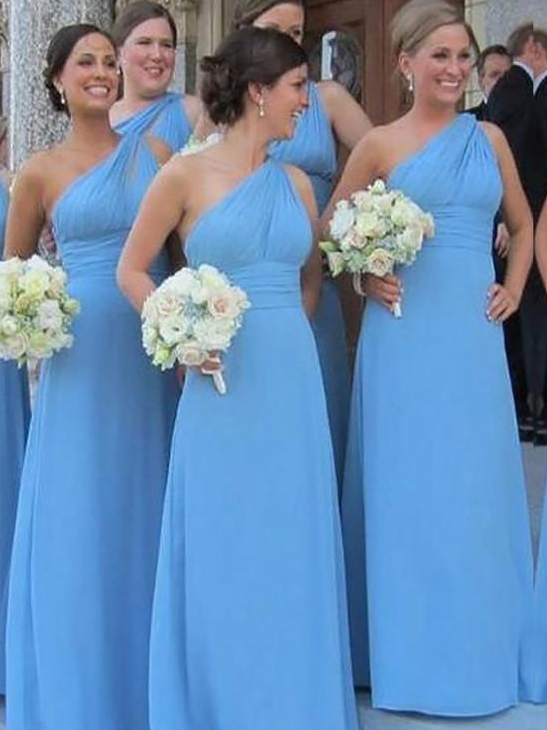 Sheath One-Shoulder Chiffon Sleeveless Floor-Length Bridesmaid Dresses