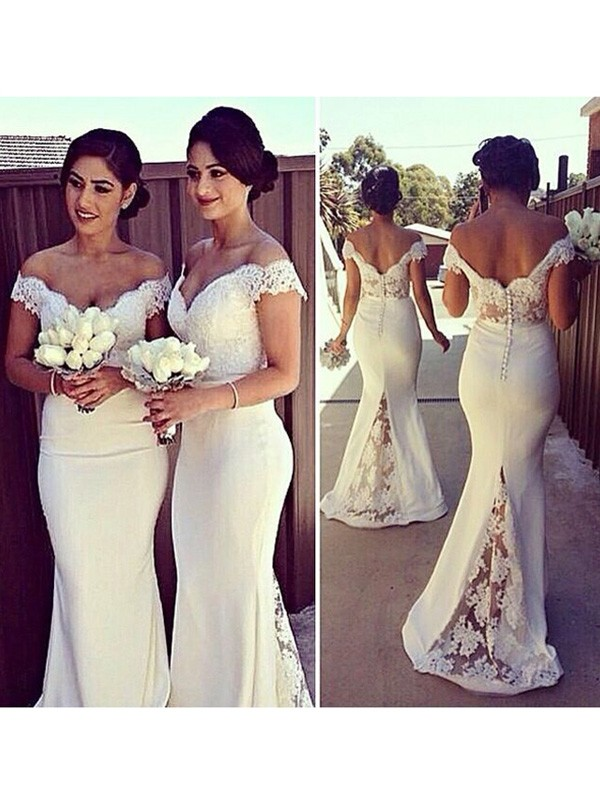 Trumpet/Mermaid Sleeveless Off-the-Shoulder Lace Satin Sweep/Brush Train Dresses