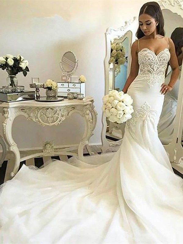 Mermaid Spaghetti Straps Sleeveless Chapel Train Tulle Wedding Dresses