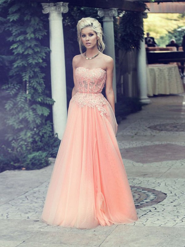 A-Line/Princess Strapless Sleeveless Applique Floor-Length Chiffon Dresses