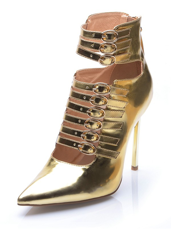 Women's Gold Patent Leather Closed Toe Stiletto Heel With Buckle Ankle Gold Boots