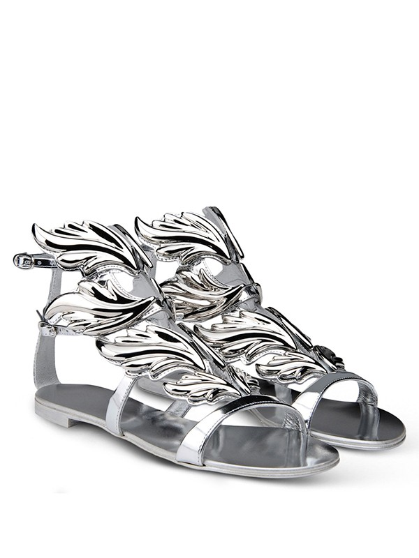 Women's Silver Patent Leather Peep Toe Flat Heel Casual Sandals Shoes