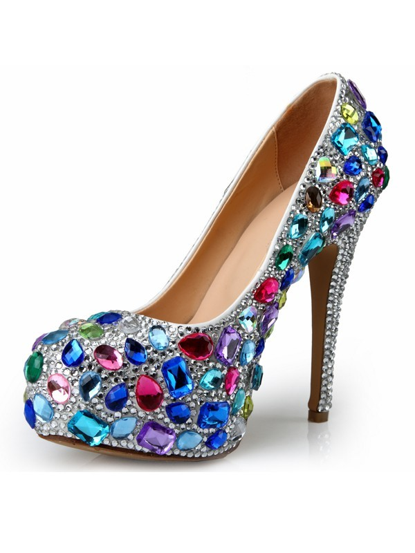 Women's Patent Leather Stiletto Heel Platform With Rhinestone Platforms Shoes
