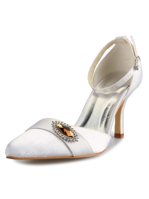 Women's Mary Jane Satin Stiletto Heel Closed Toe With Rhinestone White Wedding Shoes