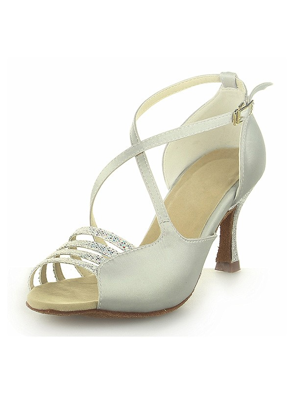 Women's Peep Toe Satin Spool Heel With Buckle Ivory Wedding Shoes